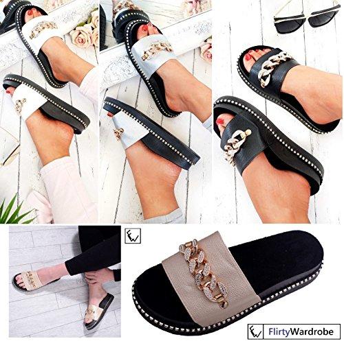 FLIRTY WARDROBE Womens Platform Sliders Chain Slider Sandal Slip On Flipflop Embellished Shoe White IuZUe