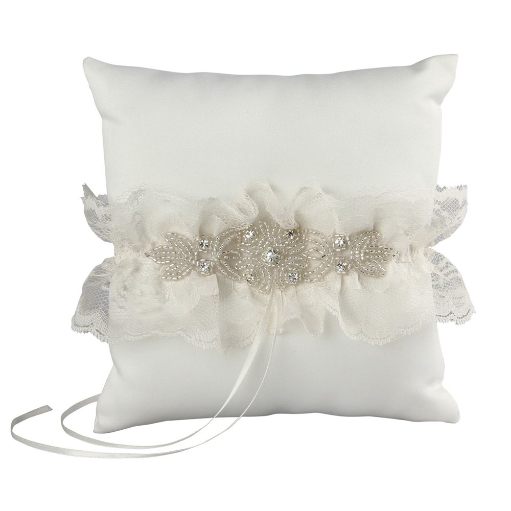 Cecilia Wedding Collection Ring Pillow, Ivory