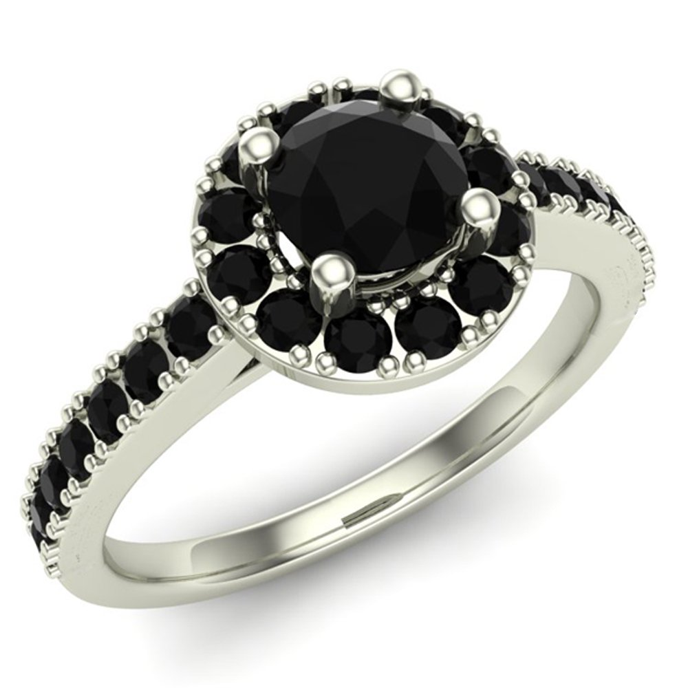 Engagement Ring with Black Diamond Halo Style Ring 14K White Gold