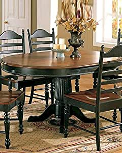 Cottage Round/Oval Pedestal Dining Table - Cherry/Ebony by Winners Only - Cherry & Ebony (DC4260CE)