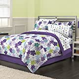 8 Piece Graphic Garden Floral Daisy Patterned Reversible Comforter Set Full Size, Printed Vibrant Watercolor Like Blossoming Daisies Flowers Bedding, Bright Modern Nature Lovers Design, Purple, Green
