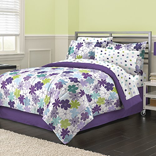 - 8 Piece Graphic Garden Floral Daisy Patterned Reversible Comforter Set Full Size, Printed Vibrant Watercolor Like Blossoming Daisies Flowers Bedding, Bright Modern Nature Lovers Design, Purple, Green