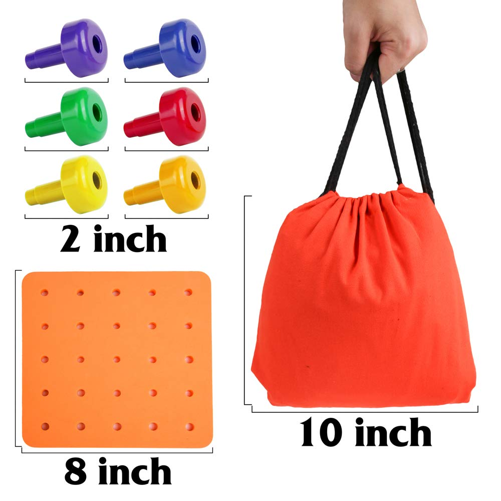 PROLOSO Stacking Peg Board Set Pegboard Toys for Toddlers Plastic Montessori Educational Toys with a Storage Bag 50 Pegs + 1 Pegboard