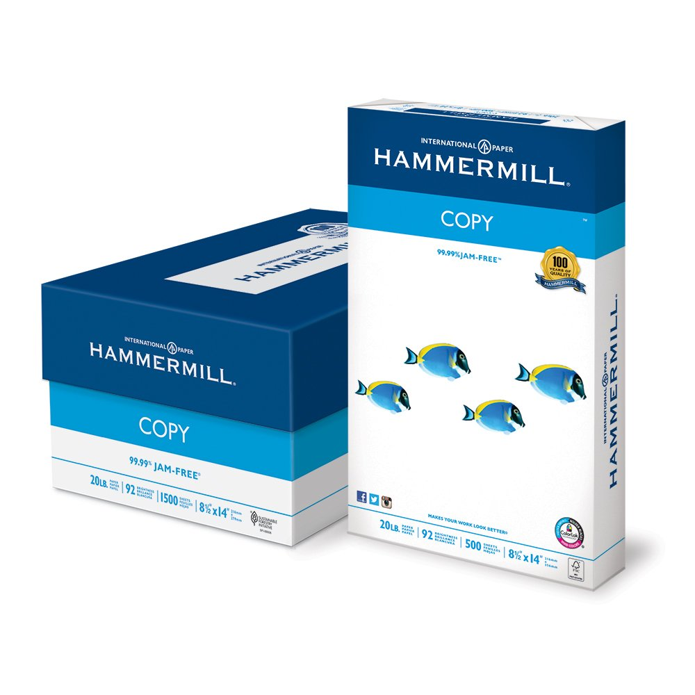 Hammermill Paper, Copy Paper Poly Wrap, 8.5x14 Paper, Legal Size, 20lb Paper, 92 Bright, 3 Ream Case / 1,500 Sheets (150800C) Acid Free Paper