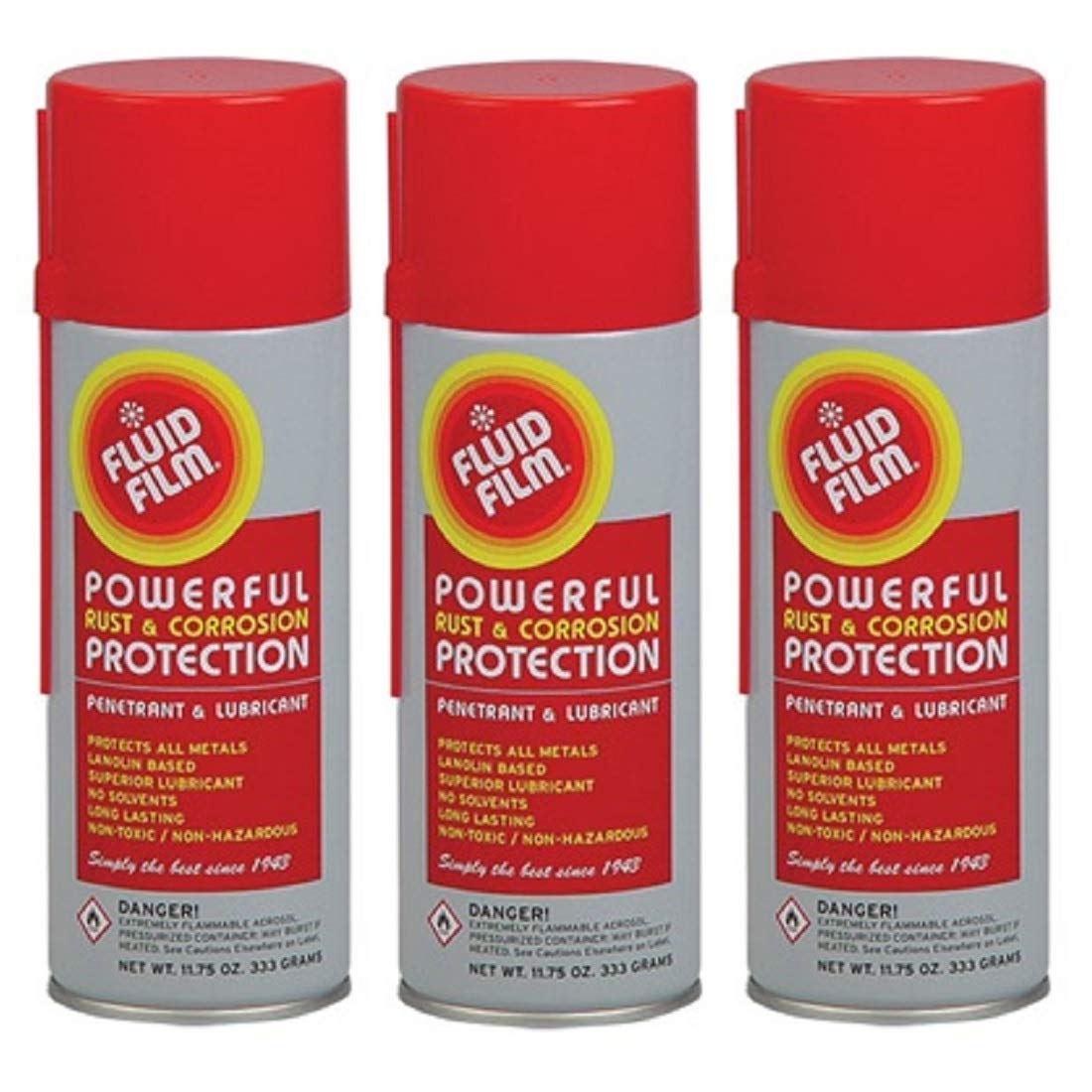 Fluid Film (3 Aerosol Cans) Rust & Corrosion Protection; Metal Surface Penetrant & Lubricant, Marine, Automotive, Industrial, Home, 11.75 Oz