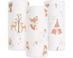 Babebay Baby Muslin Swaddle Blanket, 3-Pack Unisex Bamboo Swaddle Blanket Boys & Girl, Soft Silky Swaddling Blankets Wrap for