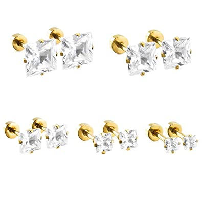1 Pair 3-7MM White Cubic Zirconia Stud Earrings for Man Women, Gold Color Stainless Steel