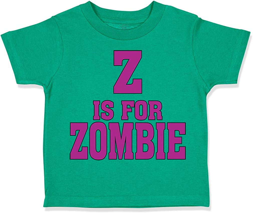 Custom Toddler T-Shirt Z is for Zombie Halloween Funny Humor Boy /& Girl Clothes
