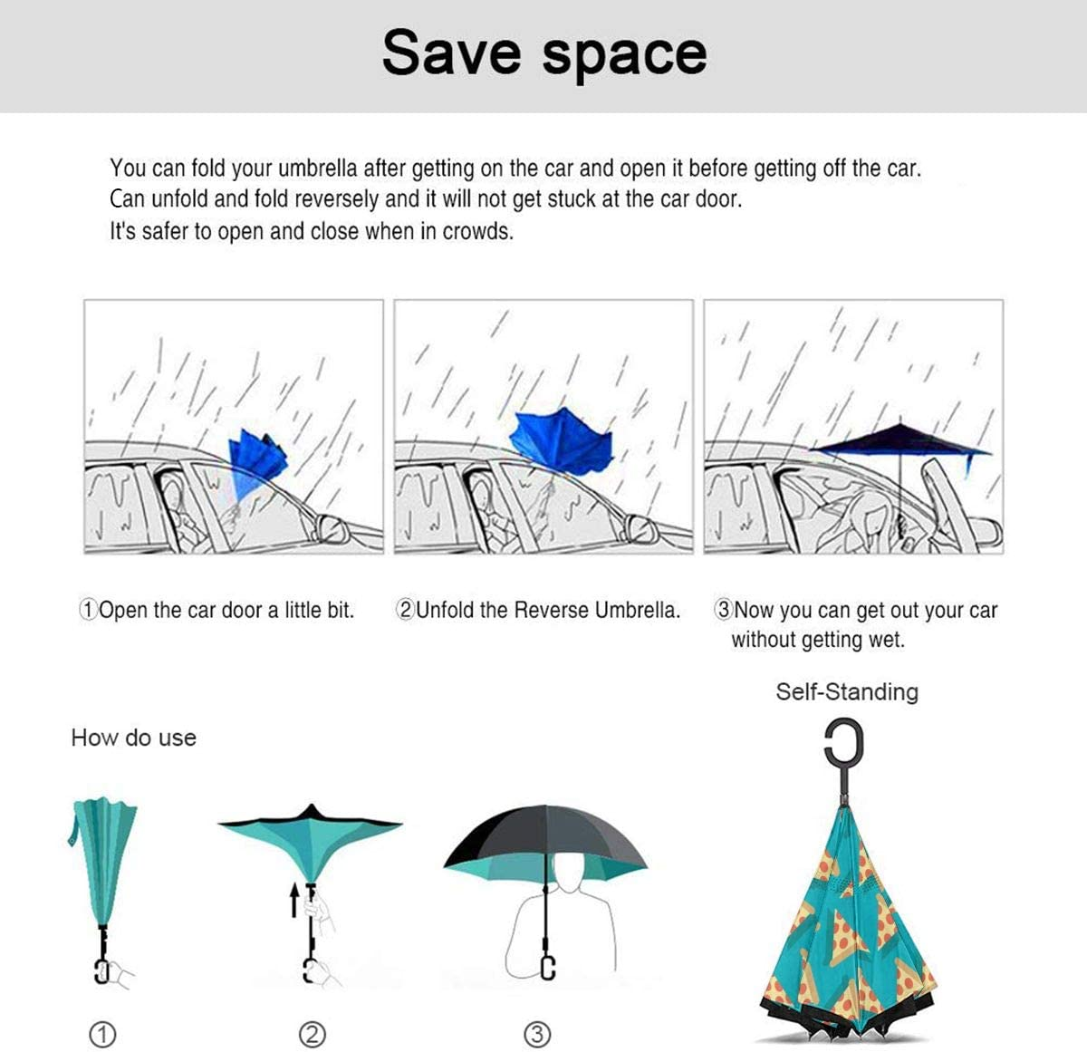 Self Stand Upside Down with C-Shaped Handle PYFXSALA Pizza Pattern Windproof Inverted Umbrella Double Layer UV Protection Folding Reverse Umbrella for Car Rain Outdoor