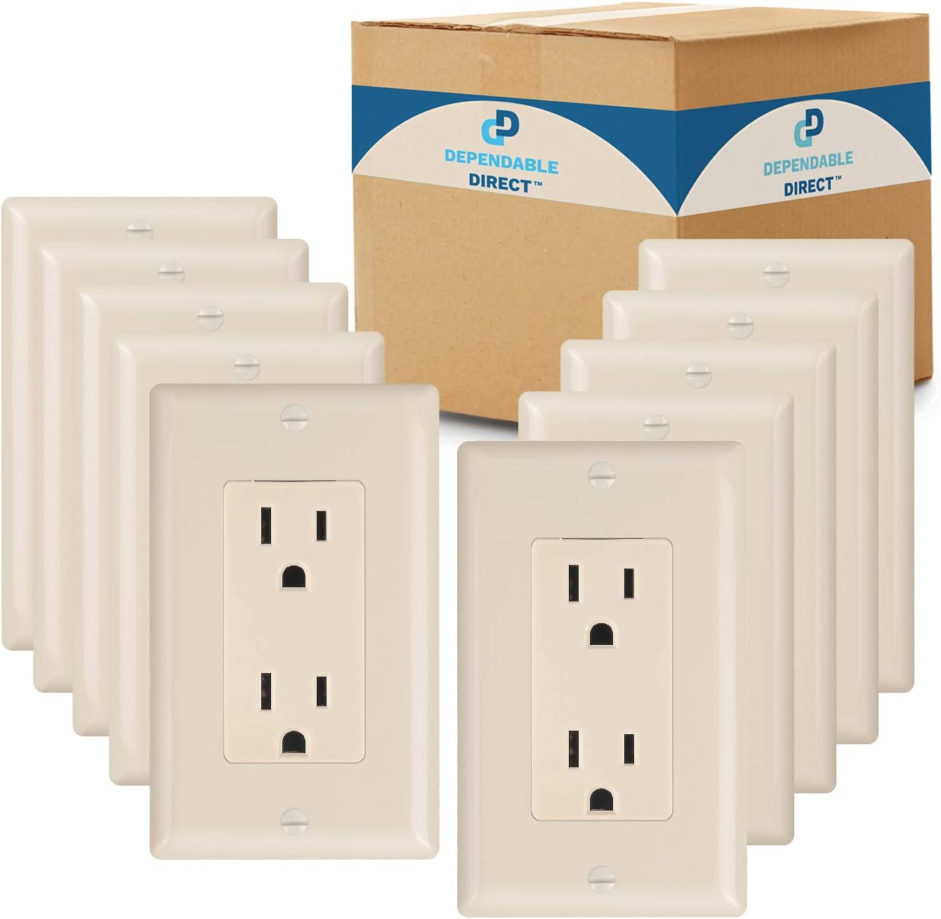 (10 Pack) Dependable Direct Duplex Wall Outlet Receptacles - 15-Amp 125-Volt - UL Listed, cUL Listed Electrical Wall Outlets - Wall Plate and Screws Included, Ivory