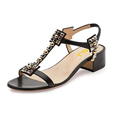 Women Studded Rivet Elastic Band Slingback Low Chunky Heels Sandals