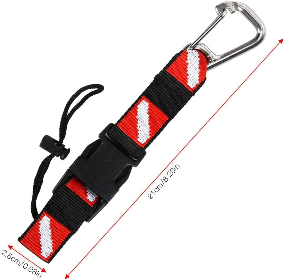 Universal BCD Scuba Diving Gear Keeper Holder with Lanyard Safety Clip