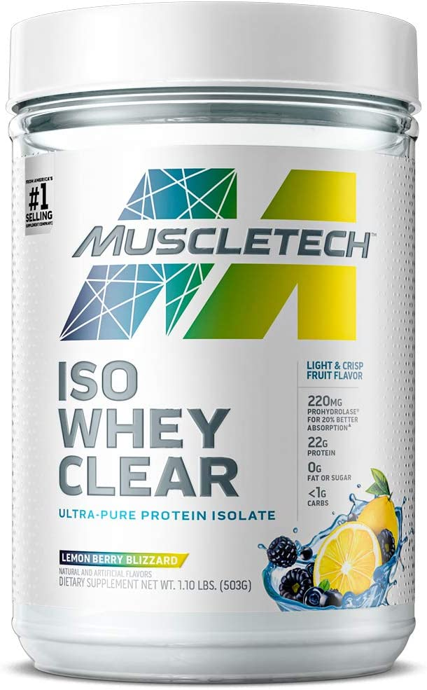 Whey Protein Powder | MuscleTech Clear Whey Protein Isolate | Whey Isolate Protein Powder for Women & Men | Clear Protein Drink | Lemon Berry Blizzard, 1.1 Pounds (19 Servings)(Packaging May Vary)