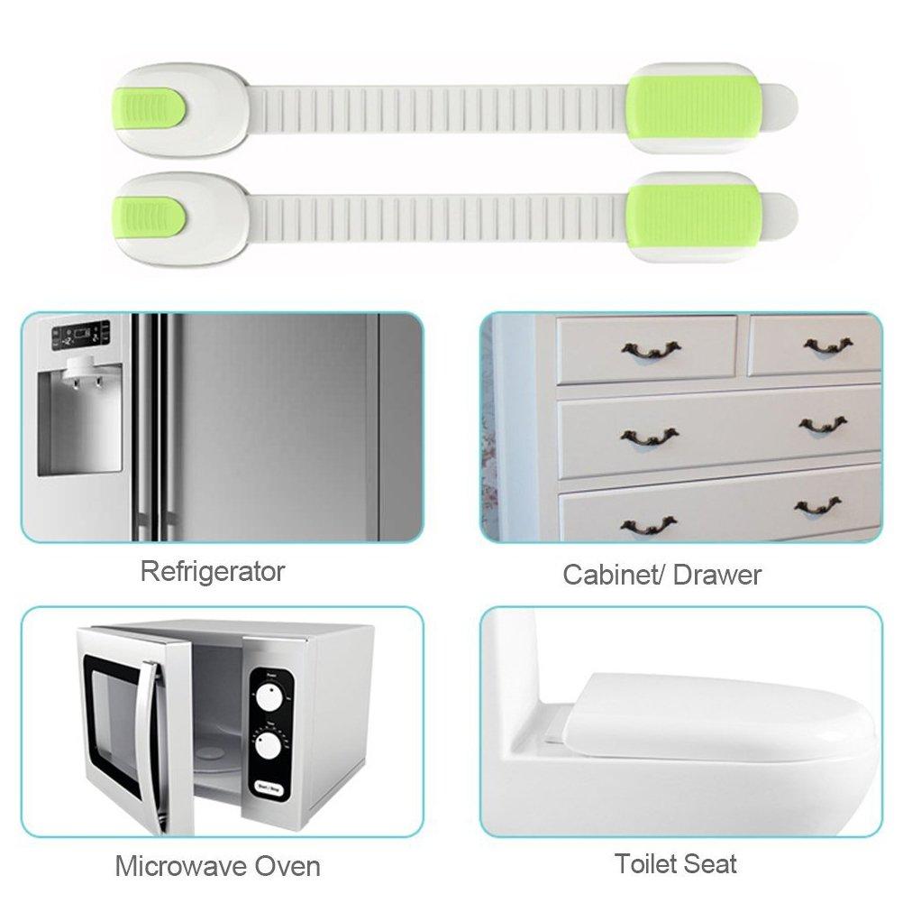 Fridge,Drawers OFKPO 8 Pcs Child Safety Locks Adjustable Strap Locks for Cupboard Door