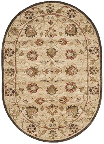 Safavieh Antiquities Collection AT812A Handmade Traditional Beige and Beige Wool Oval Area Rug (4'6