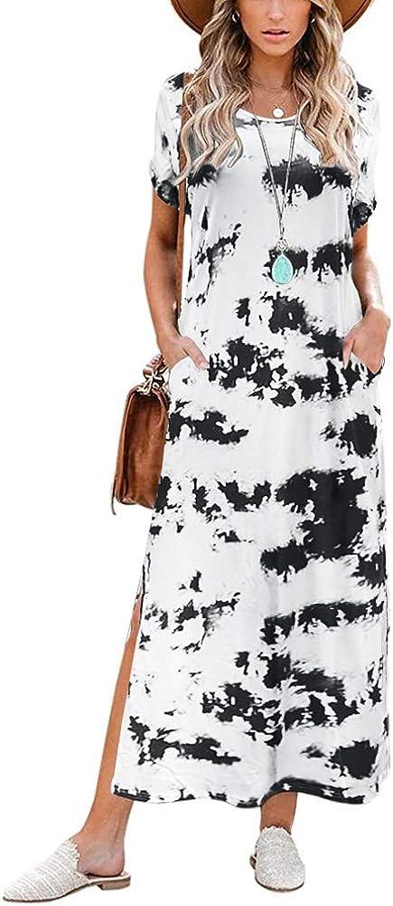Midi Dress for Women - Casual Loose Short Sleeve Split Tie Dye Long Dress with Pockets