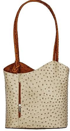 8faf975f1ddc7 Image Unavailable. Image not available for. Colour: Handbag Bliss Italian  Leather Ostrich Print Shoulder Bag Handbag Backpack Rucksack ...
