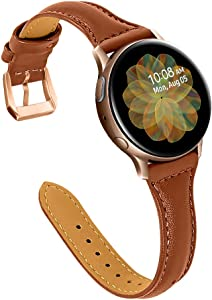 Joyozy Leather Band Compatible with Samsung Galaxy Watch Active(40mm)/2(40mm), (44mm), Woman Man 20mm Slim Leather Wristband Strap for Galaxy Watch 42mm/ Samsung Gear S4/ Gear S2 Classic SM-R732/ 735