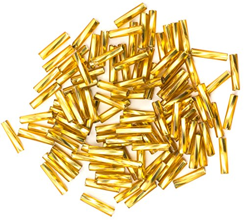 Cousin DIY Size 4 Gold Czech Glass Twist Bugle Beads