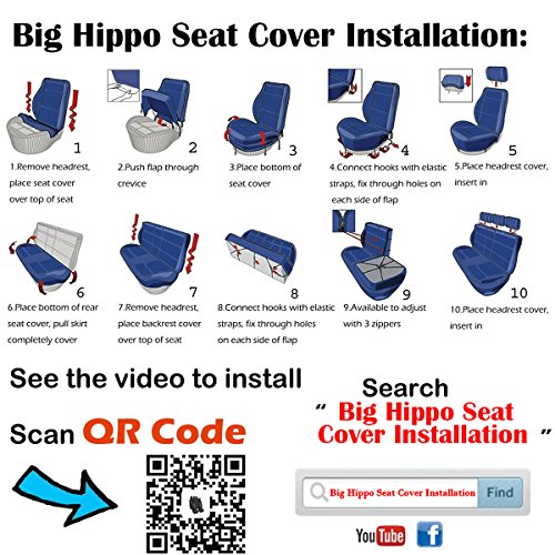 Big Hippo Car Seat CoversAirbag Compatible Leather Covers Full Set With 5 Detachable Headrests