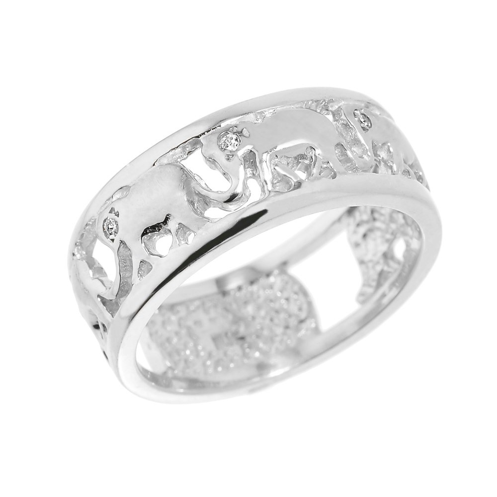 Fine 10k White Gold Open Design Band Diamond Elephant March Ring (Size 5)