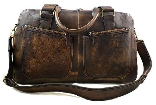 Bolsa de viaje de piel vintage bolsa piel lavada marron ...