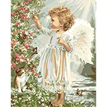 Wowdecor Paint by Numbers Kits for Adults Kids, Number Painting - Little Angel in the Garden 16x20 inch (Frameless)