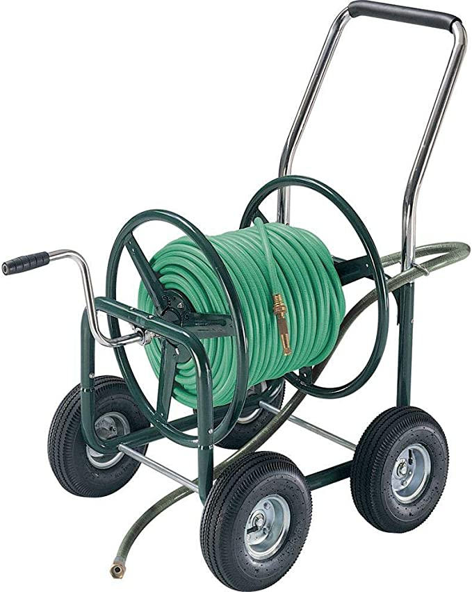 AMES 2380500 4-Wheel Steel Wagon, 400-Foot Hose - Large-Capacity Hose Reel Cart