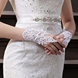 HuaYang Chic women supply Bridal Flower Veil Sequin Embroidery Lace Wedding Fingerless Gloves 1 Pair(Color:White)