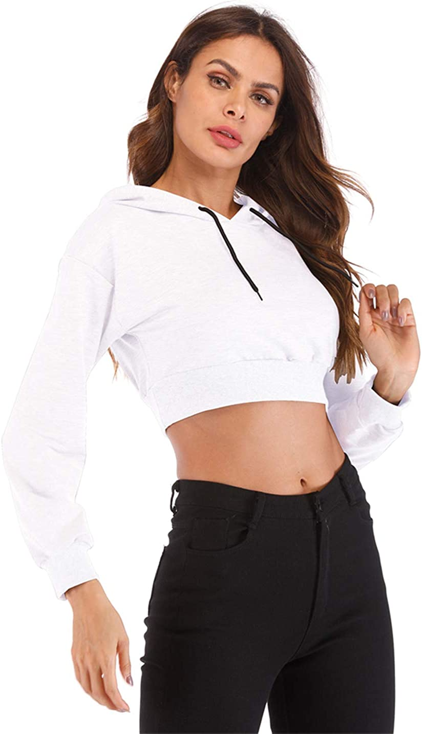 Hioinieiy Women's Summer Long Sleeve Crop Top Hoodie Workout Casual Cute Pullover Cropped Sweatshirt