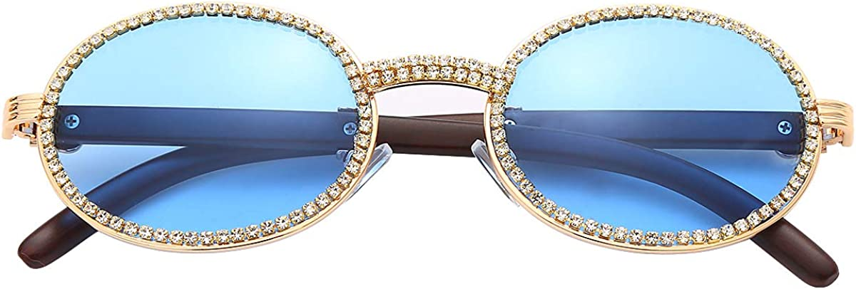 Amazon Com Guvivi Oval Retro Round Diamond Sunglasses For Men Women Luxury Glasses Fashion Crystal Wood Eyewear Shades Gold Blue Clothing