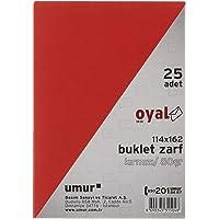Oyal Buklet Zarf, 114 x 162 cm, 80 gr, Silikonlu, 25'li, Kırmızı