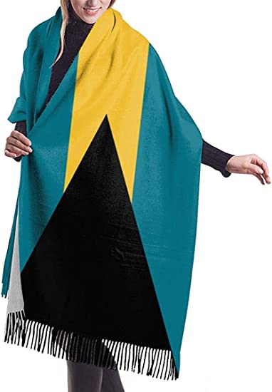 American and Bahamas Flag Cashmere Scarf Shawl Wraps Super Soft Warm Tassel Scarves For Women Office Worker Travel