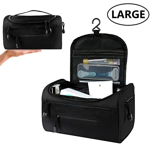 Toiletry Bag Hanging Cosmetic Bag Waterproof Large Organizer,7 Pockets Black