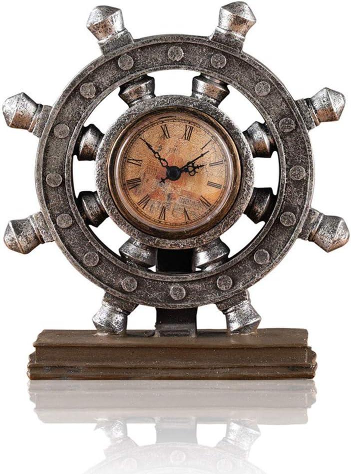 Lependor Wheel Wall Clock Decoration Nautical Anchor Boat Steering Wheel Time Clock Table Decor Crafts Rudder Desk Clock - Brown