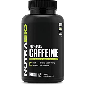 NutraBio 100% Pure Caffeine Anhydrous (500 Capsules, 200mg)