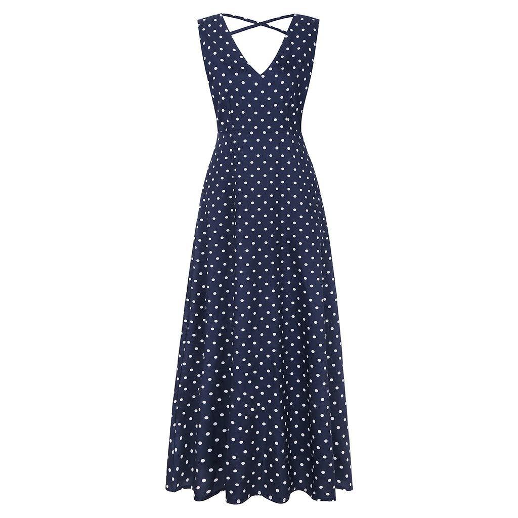 Makeupstory Sleeveless Pencil Dress, Dress for Women 2X Plus Size,Women Summer Party Fashion V Neck Dress S Navy