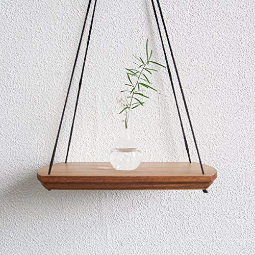 Small Decorative Wall Shelf Brown 9x6 Inches Modern Wood Hanging Shelves for Plant Indoor Mid Century Display Plant Stand Wooden Flower Succulent Vase Swing Holder Home Decor Housewarming Gift