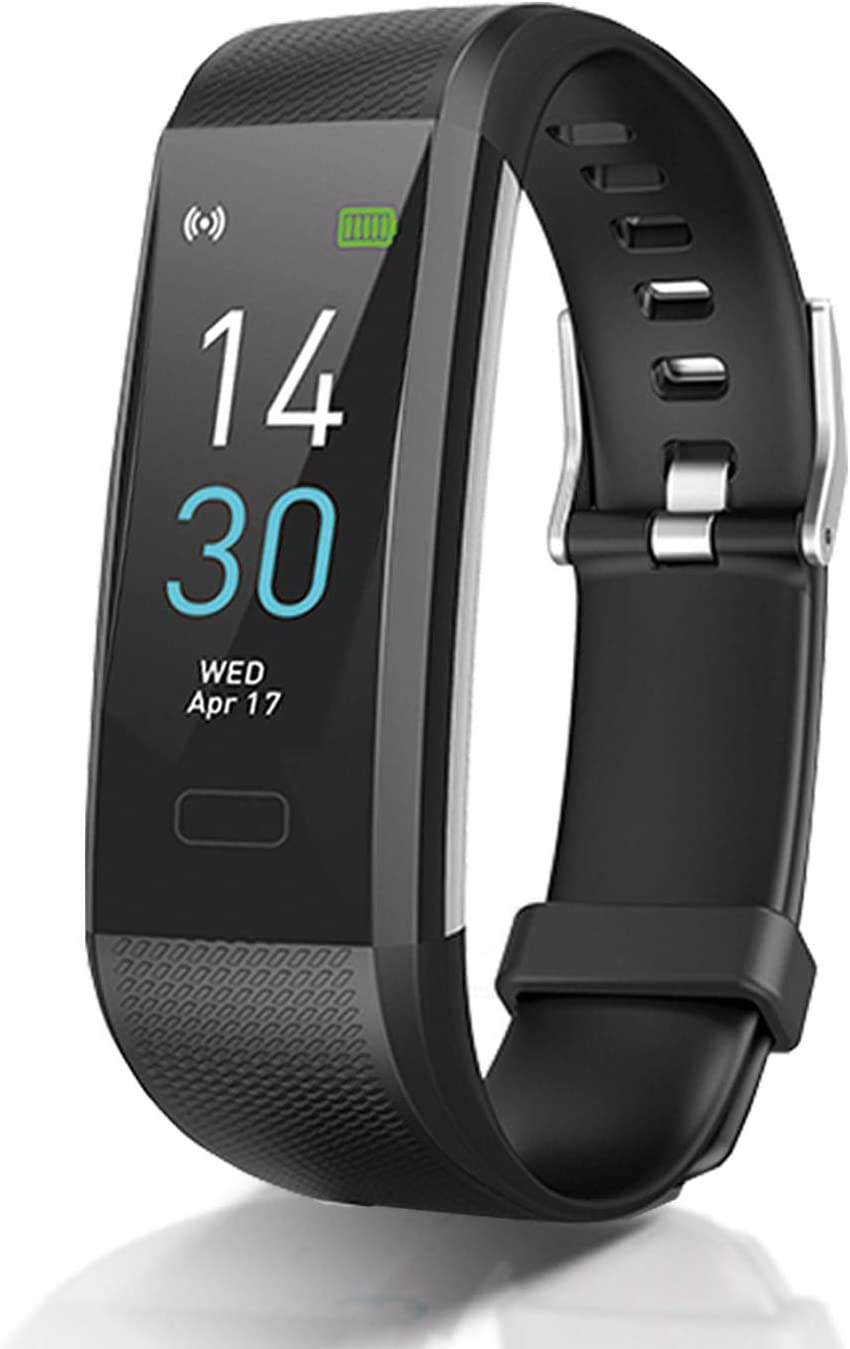 Fitness Tracker with Heart Rate Blood Pressure Blood Oxygen Sleep Monitor Temperature Monitor, Activity Tracker Smart Watch Pedometer Step Counter for iPhone & Android Phones for Kids Man Women(Black)