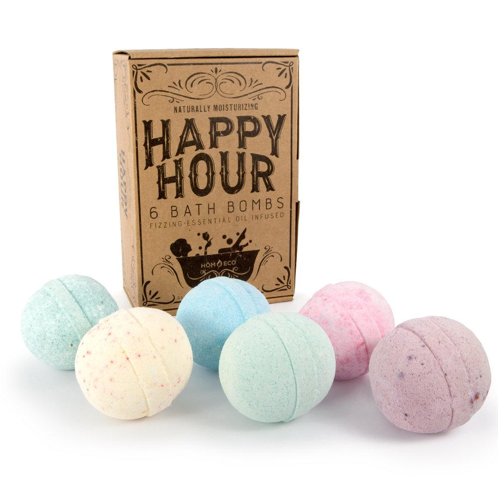 Bath Bombs For Women HomEco Happy Hour Gift Bath Set, 6 Premium X- Large Ultra Lush Bombs with Organic and Natural Fizzing Ingredients - Great Birthday Gift Idea