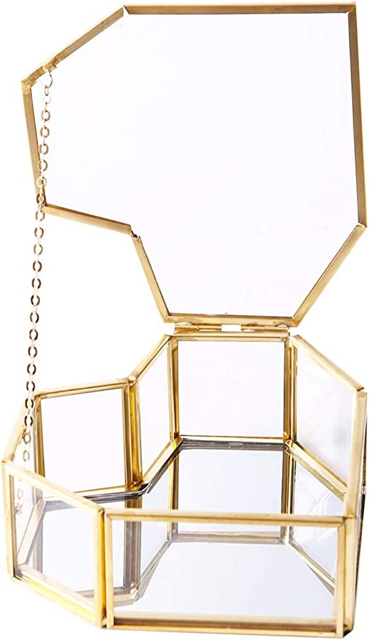 Joyero de cristal dorado con forma de corazón, caja pequeña para joyas, organizador de cristal transparente con tapa para escritorio, tocador, baño y decoración del hogar, borde de latón dorado: Amazon.es: Hogar