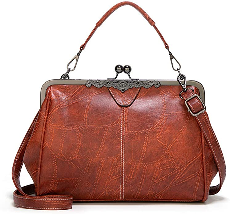 Edwardian Gloves, Handbags, Hair Combs, Wigs Women Retro Hollow Oil Wax PU Leather Handbag Kiss Lock Messenger Bag Handbags $17.99 AT vintagedancer.com