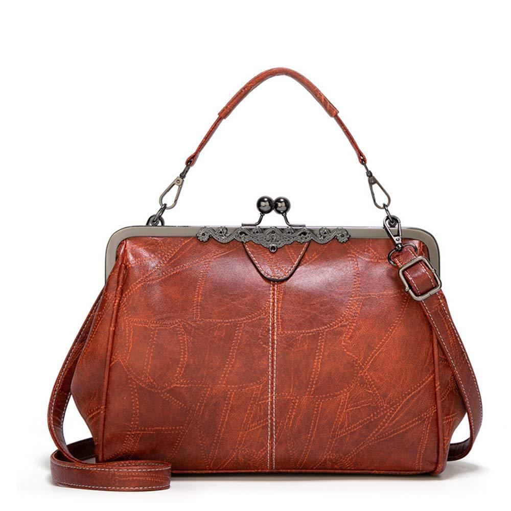 Vintage Handbags, Purses, Bags *New* Women Retro Hollow Oil Wax PU Leather Handbag Kiss Lock Messenger Bag Handbags  AT vintagedancer.com