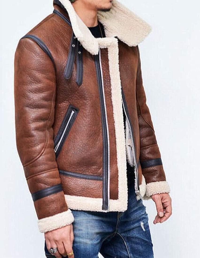 BOBOYU Mens Fleece Lined Winter Faux Leather Mutli-Zip Plus Size Quilted Jacket Coat Outerwear