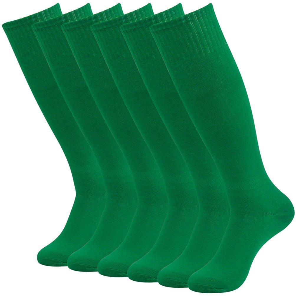J'colour Athletic Football Soccer Socks, Unisex Knee-High Sport Baseball Running Tube Socks Costume 6 Pairs Green by J'colour
