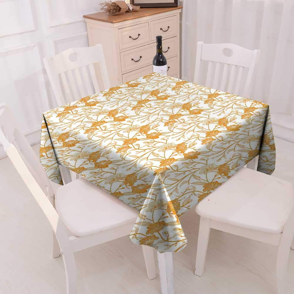 Attrayant CobeDecor Orange And White Dinner Picnic Table Cloth Abstract Drawing Of  Flowering Stems Blooming Buds Nature Coming Alive Waterproof Table Cover  For ...