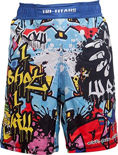 TRI-TITANS Graffiti Wrestling MMA BJJ Fight Shorts Blue - Youths & Mens (Adult XS: Waist 28