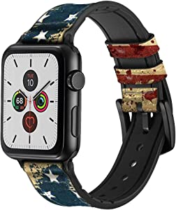 CA0276 Old American Flag Leather & Silicone Smart Watch Band Strap for Apple Watch iWatch Size 42mm/44mm