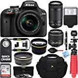 Nikon D3400 24.2MP DSLR Camera w/AF-P 18-55 VR & AF-P DX 70-300mm VR Dual Lens Accessory Bundle - (Certified Refurbished) (Black)