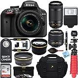 Nikon D3400 24.2MP DSLR Camera w/AF-P 18-55 VR & AF-P DX 70-300mm VR Dual Lens Accessory Bundle - (Certified Refurbished) (Black)